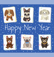 happy new year pets poster vector image vector image