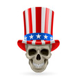 Human skull with uncle sam hat on vector image
