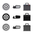 isolated object of auto and part logo set of auto vector image vector image