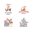 logo with autumn forest and animals concept vector image vector image