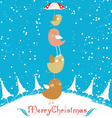merry christmas card with christmas bird vector image vector image