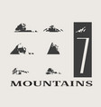 mountain icons set mountains landscape vector image vector image