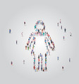 people crowd gathering in female icon shape social vector image vector image