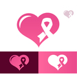 Pink Ribbon Heart Awarness Logo Icon vector image vector image
