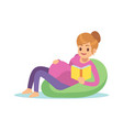 pregnant woman reading pregnancy female on chair vector image vector image