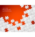 red background made from white puzzle pieces vector image vector image