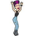 rock music fan woman vector image vector image