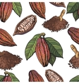 Seamless pattern of cacao fruit beans powder on vector image