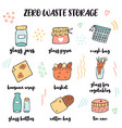 set hand drawn zero waste storage inventory vector image