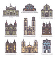 set isolated color churches europe vector image vector image