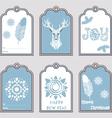 Set of 6 Christmas gift tags vector image vector image