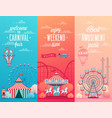 Set of amusement park landscape banners with