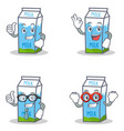 set of milk box character with okay proud vector image vector image