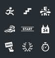 set skyscraper marathon icons vector image