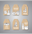 tags with cosmetic bottles vector image vector image