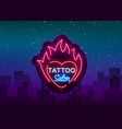 tattoo salon logo neon sign a symbol of vector image vector image