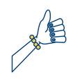 woman hand thumb up vector image vector image
