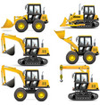 yellow construction machinery vector image vector image