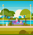 young woman sitting on bench in park using laptop vector image vector image