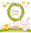 Happy Easter background with cartoon cute bunny vector image