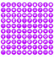100 cafe icons set purple vector image vector image