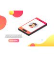 3d isometric smartphone iconisometric vector image