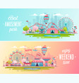 amusement park landscape banners with carousels vector image vector image