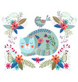 art colorful with cute cat vector image vector image