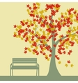 Autumn tree and benches falling maple leaves vector image vector image