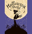 banner for halloween with zombie hand at cemetery vector image vector image
