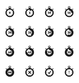 black stopwatch icons set vector image