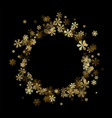 black winter background with golden snowflakes vector image