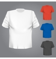 Blank t-shirt any color over grey background vector image