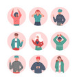 boys and girls making hand sign gestures set vector image vector image