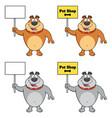 bulldog cartoon mascot character collection - 2 vector image vector image