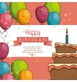 cake balloon happy birthday desing isolated vector image vector image