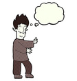 cartoon excited vampire with thought bubble vector image vector image