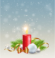 Christmas background with red candle vector image vector image