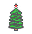christmas tree filled outline icon new year vector image