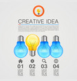 creative idea idea lamp light white background vector image