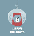 cute winter greeting background with polar bear vector image