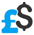 Dollar and Pound Currency Flat Icon Symbol vector image vector image