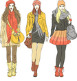 fashion stylish girls in warm clothes vector image vector image