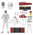 Fencing sport equipment set vector image
