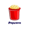 Fresh popped cartoon takeaway popcorn vector image