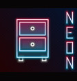 glowing neon line drawer with documents icon vector image vector image