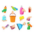 hands with cleaning equipment vector image