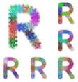Happy colorful fractal font set - letter R vector image vector image