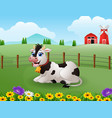 happy cute cow in the farm with green field vector image vector image