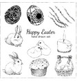 happy easter set with egg flower rabbit candle vector image